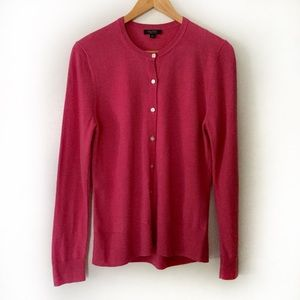Brooks Brothers L Saxxon Wool Pink Button Cardigan